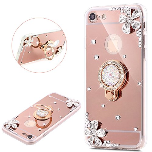 JAWSEU iPhone 7 Coque Transparent Glitter,iPhone 8 Etui en Silicone Clair avec Pailletee,Brilliante Bling Étoile Soft Tpu Case Cover,Ultra Slim Sparkle Scintillant Bling Une Fleur Diamant Flexible Souple Gel Housse Etui Ring Stand Holder TPU Téléphone Coque Coquille de protection Homme Femme Cristal en Silicone Caoutchouc Coque Coquille Cas Éclat Tpu Clear Case Cover Transparente Extra Slim Doux Gel Protecteur Coque Couverture pour iPhone 7/8 4.7-rose or