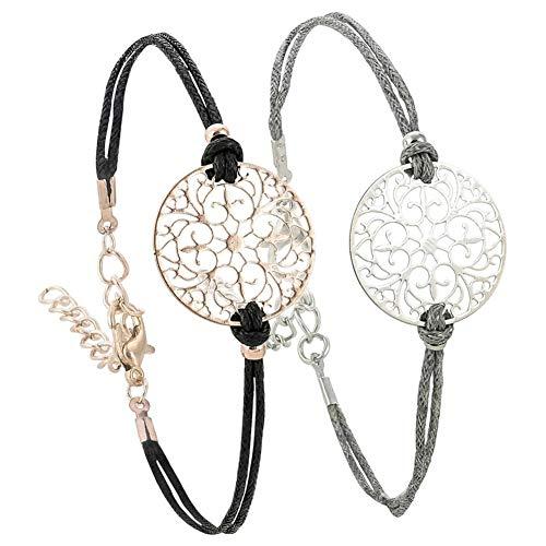 Lovinda Armband Damen Metall Zweifarbige Openwork Blumen Handgewebtes -