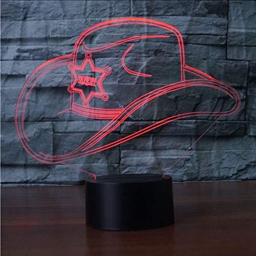 Hysxm 3D Bunte Led Gradienten Cowboy Hut Nachtlicht Kappe Usb Kinder Schlaf Schlafzimmer Nacht Dekor Leuchten Schreibtisch Tischlampe