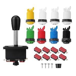 MoPei Arcade Joystick Kit, Arcade Zubehör Kit mit 1 Joystick, 8 Push Buttons (1P / 2P Tasten & 6pcs Buttons) für Arcade Fighting Spiel Videospiel Multicade MAME Jamma
