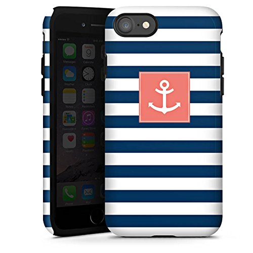 Apple iPhone 6s Hülle Case Handyhülle Anker Streifen Maritim Tough Case glänzend