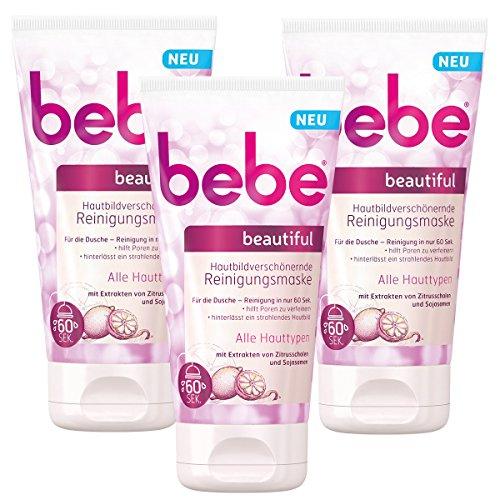 bebe beautiful Hautbildverschönernde Reinigungsmaske, Reinigende Gesichtsmaske für alle Hauttypen, 3 x 150 ml