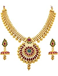 BFC - Traditional Glorious Stones One Gram Gold Plated Bead Designer Necklace / Jewellery Set With Earring For...