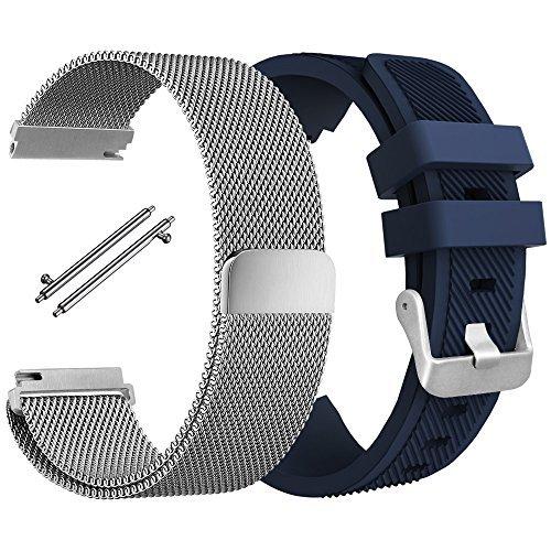 Cinturino per Samsung Gear S3 Frontier / Classic, AFUNTA Banda Bracciale in Acciaio Inossidabile con Chiusura Magnetico, Braccialetto in Silicone Sostituzione della Cinghia Per S3 Sport Smart Watch - Argento, Blu