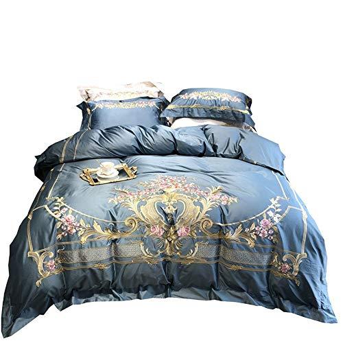 RENYAYA 100S Egyptian Cotton Stickerei Luxury Royal Bedding Set 4Pcs King Queen Size Wedding Bed Sheet Set Duvet Cover Pillowcases,Blue,200 * 230cm (König Cotton Bed Sheet Sets)