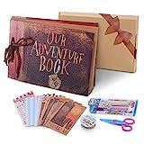 POOTACK Álbum de Fotos DIY, Scrapbook (19x30cm, 80 Páginas, 40 Hojas) con un Conjunto de Pluma de Color, Tijeras, Cintas Adhesivas, Pegatinas Cumpleaños/Familia/Niños/Amigos