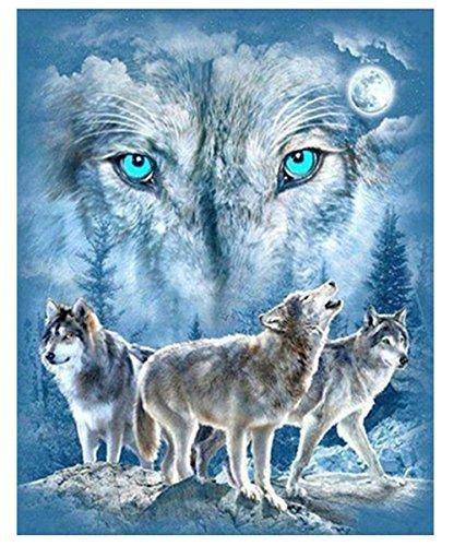 Gemini Mall® Cute Animal DIY 5D Diamant Wandbild Ölgemälde Kits Crystal Strass Stickerei Gemälde Bilder Art Craft Home Decor Wolfs in the Full Moon Night -