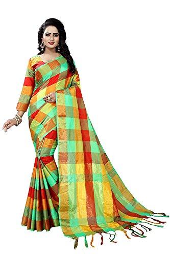 J B Fashion Women's Cotton Silk Saree With Blouse Piece (Ekkat-03-77-_Parrot Green)