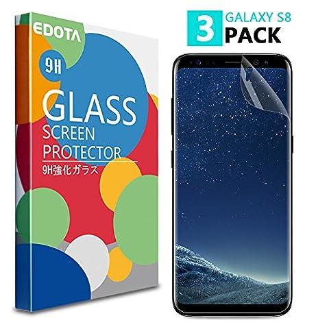 [Lot de 3] Galaxy S8 Protection écran, Edota Ultra Clair [couverture complète] [Pas en Verre Trempé] [Bubble-Free] [Anti-Scratch] TPU Film Protection pour Samsung Galaxy S8