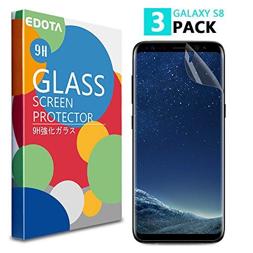 Galaxy S8 Schutzfolie [3 Stück], Edota TPU Displayschutzfolie mit [Voll bedecken] [Anti-Kratz] [Blasenfrei] [HD Klar] für Samsung Galaxy S8