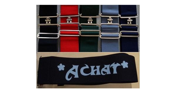 Elastischer Deckengurt f/ür Pferde in blau mit IHREM PFERDE NAMEN personalisiert