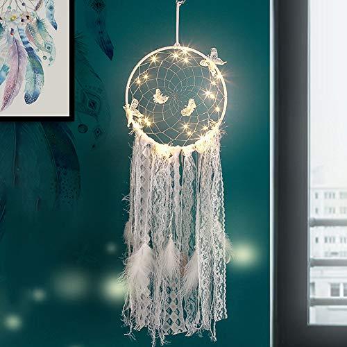 display08 Lámpara de luz Retro, atrapasueños de Plumas sintéticas, decoración Colgante para el hogar