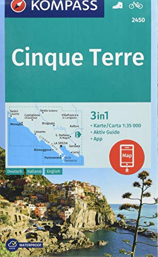 KOMPASS Wanderkarte Cinque Terre: 3in1 Wanderkarte 1:35000 mit Aktiv Guide inklusive Karte zur offline Verwendung in der KOMPASS-App. Fahrradfahren. (KOMPASS-Wanderkarten, Band 2450)