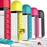 #9: Fusine™ Daily 600ml Pill Box Organizer With Water Bottle Weekly Seven Compartments With Drinking Bottle ( As per Availability )
