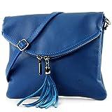 modamoda de - ital Umhängetasche Klein aus Nappaleder T139, Präzise Farbe:T139 Blau