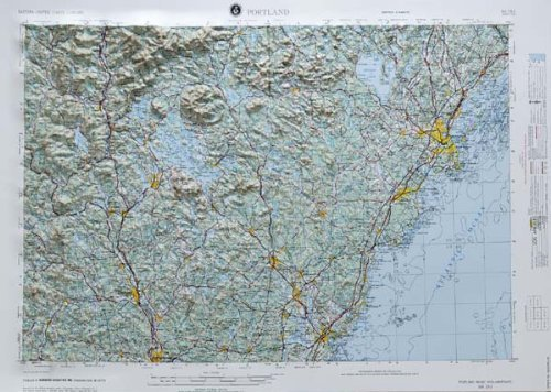 PORTLAND REGIONAL Raised Relief Map in the states of New Hampshire and Maine with Black Plastic Frame by American Educational Products