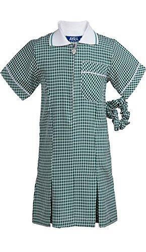 Ayra Girl's School Uniform Pleated Gingham Summer Dress with Hair Bobble (Scrunchie)