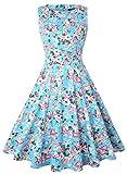 ihot Elegant Damen 50s Retro Vintage Rockabilly Kleid Partykleider Cocktailkleider (S, Hellblau Floral)