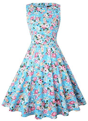 IHOT Elegant Damen 50s Retro Vintage Rockabilly Kleid Partykleider Cocktailkleider (XXL, Hellblau...