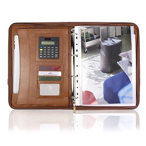 Konferenzmappe A4 Leder mit Reissverschluss Ringbuch Griff Taschenrechner und Schreibblock braun, Perfekt als Schreibmappe Dukumentenmappe, ideal für Schule und Beruf, Damen und Herren