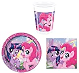 MLP 52 Teile Party-Geschirr Set My Little Pony Kinder-Geburtstag - Teller Becher Servietten für 16 Personen