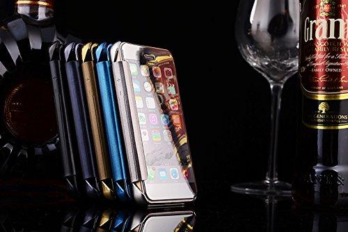 BCIT iPhone 5 (iphone SE) Hülle - Luxus Elegant Glitter Smart Flip Ultra Slim Ansicht Galvanisierter Spiegel Hard Clear Transparente Telefon Tasche für iPhone 5 (iphone SE) - Azur Blau Silber