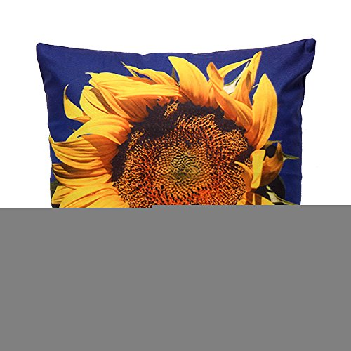 Dekorative Sonnenblumen-kissen (iLove EU kurze Plüsch Dekokissen Fall Quadratisch Sofa Haus Auto Dekorative Kissenbezug Kissenhülle 45 x 45cm - 3D Sonnenblume (Gelb Blau))