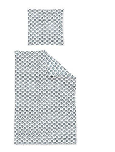 Irisette Mako-Satin Bettwäsche Capri 8610-20 Indigo 155x220 + 1x 80x80 Capri Blue Satin