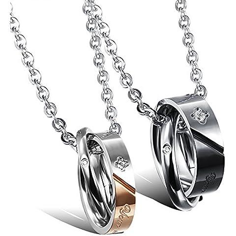 ZWX Doppio anello ciondolo collana fashion lovers/ Versione coreana delle catene della clavicola per uomini e donne-A