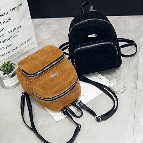 OURBAG Frauen Mini Rucksack Mädchen Kleine Schultasche Büchertasche Schwarz Schwarz