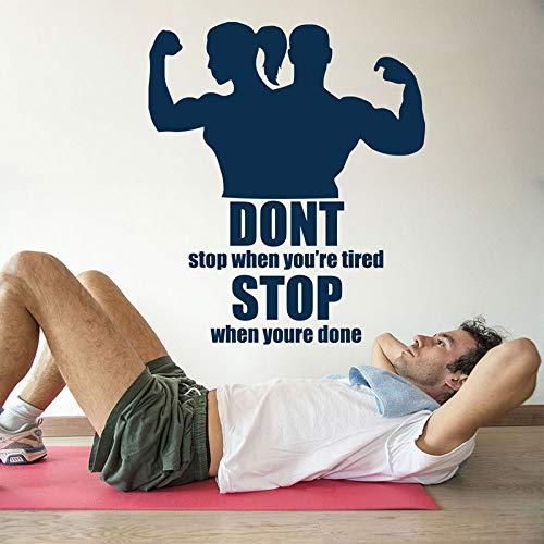 nkfrjz Stoppen Sie, wenn Ihre Fertig Wandaufkleber Sport Zitat Vinyl Wandtattoo Bodybuilder Gym Decor Abnehmbare Innendekoration Wandbild 57X66 cm -