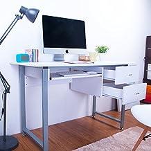 LIFE CARVER Bianco Compact PC Desk Computer desk Home Office tavolo di studio Laptop Table Computer Desk con 2 cassetti
