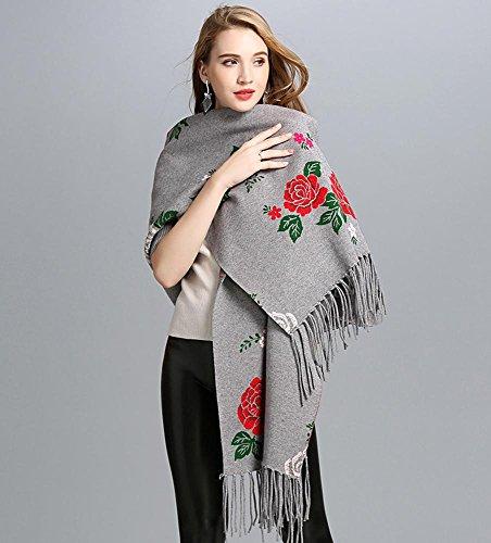 Europa e gli Stati Uniti autunno e inverno moda scialle / jacquard nappa maglia cardigan scialle / mantello Gray