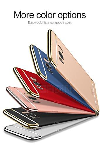 Samsung Galaxy S8 Hülle - Meimeiwu Elektroplattierter Kappen mit einer Matter Oberfläche 3-Teilige Styliche Extra Dünne Harte Schutzhülle Case für Samsung Galaxy S8 - Rot Schwarz