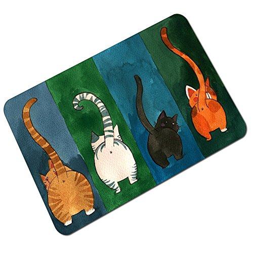 Fidosis Fußmatte mit lustigen Katzen-Motiv, rutschfest, Gummi, für Zuhause/Büro/Schlafzimmer (59,9 x 39,9 cm)