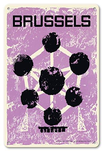 22cm x 30cm Vintage Metallschild - Brüssel, Belgien - Weltausstellung 1958 - Atomium - Vintage Retro Welt Reise Plakat c.1960