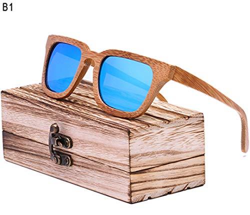 DAIYSNAFDN Holz Sonnenbrille Männer Platz Bambus Sonnenbrille Vintage Holz Hd Objektiv Rahmen Handgemachte Sonnenbrille C1