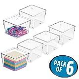 mDesign Juego de 6 organizadores de escritorio de plástico – Organizador de cajones cuadrado para tijeras, pósits, lápices, etc. – Prácticas cajas organizadoras para escritorio o cajón – transparente