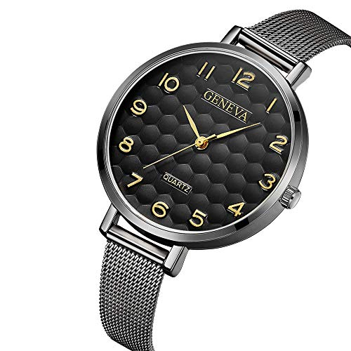 Preisvergleich Produktbild Armbanduhr für Damen Herren flach Slim Uhr mit Lederarmband Schwarz