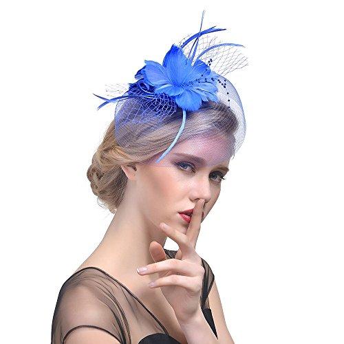 Hut hochzeit Blumen Netz Braut Kopfschmuck Haarnadel Haar Clip Hut Feder Haarschmuck Kopfbedeckung für Party Kirche Hochzeit Cocktail Tea Party Hat(Dunkelblau)
