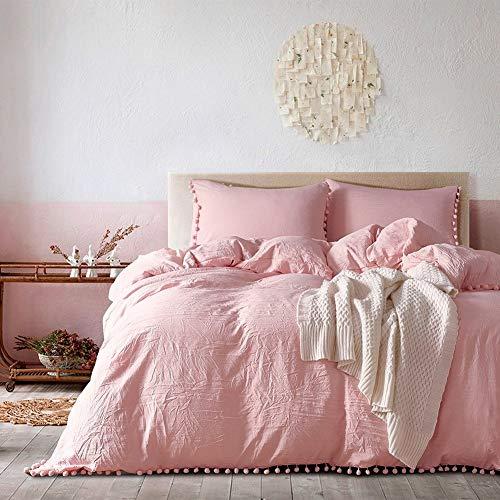 DuShow Pink gewaschen Baumwolle Chambray Bettbezug Farbe Casual modern Style Betten Set entspanntes Weiche Haptik natur Faltig Optik, rose, King Size