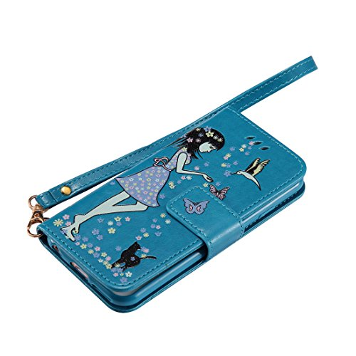 iPhone 6 Custodia ,[Luminoso Notte] [Portafoglio],Glow nel design creativo scuro Gatto e donna Design Pattern Cassa di piegatura di cuoio dellunità di elaborazione di alta qualità case For iPhone 6 blu