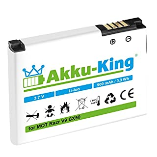 Akku-King Battery for Motorola Razr V9, Razr2 V9, Zine ZN5 - replaces BX50 - Li-Ion 900mAh