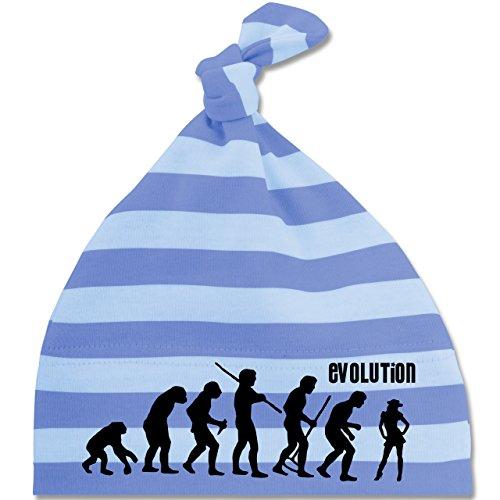Evolution Baby - Cowgirl Evolution - Unisize - Blau/Babyblau - BZ15S - gestreifte Baby Mütze mit Knoten / Bommel für Jungen und Mädchen