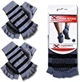 Grippy Toeless Socks, 2 Pairs Set, For Yoga and Pilates, Non Slip Skid Socks by YogaAddict