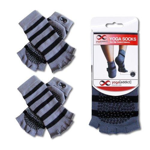 YogaAddict Toeless Socks Yoga, Pilates, Dance, Barre, Half Toe with Grips, 1 & 2 Pairs Value Pack Set, Anti Slip Non Skid
