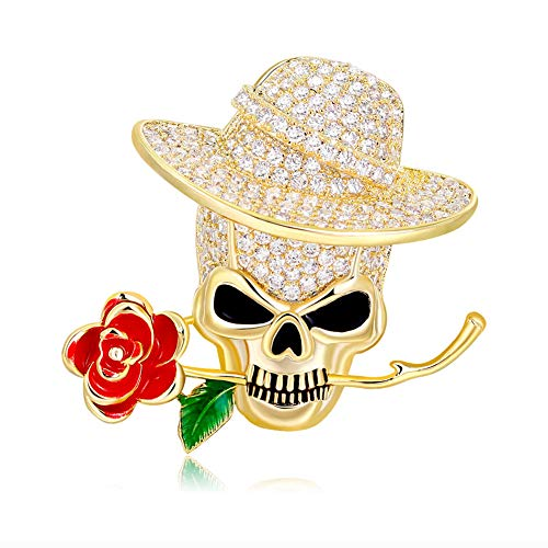 (J.MeMi'S Schädel Rose Brosche Zirkon Pin Goth Vintage Punk Halloween Überzug Gold Schmuck Party Skelett Brosche Geschenke,Gold)