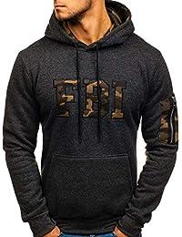 21033cfa183f7 BOLF Homme Sweatshirt avec Capuche Inséré à Travers la tête Hiver Poche  Kangourou Sportif 1A1