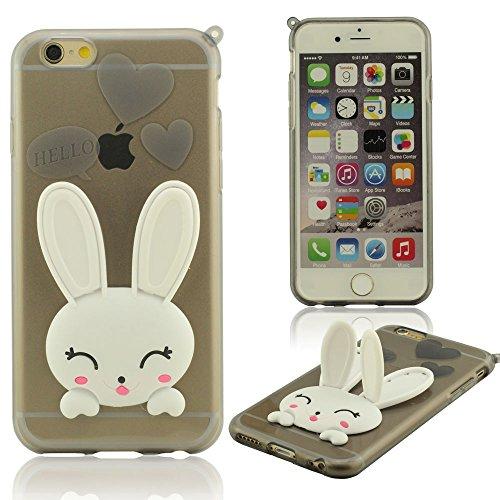 iPhone 6 6S Coque Avec Sangle, Mignon Lapin ( Oreilles Peuvent Se Déplacer ), Housse étui pour iPhone 6 6S 4.7 Pouce ( iPhone 6 Plus 6S Plus 5.5 Pouce Pas S'adapter ), Flexibles Doux TPU Matériel Skin Noir