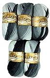 5 x 100 g Alize Strickwolle Farbverlauf schwarz grau weiß Nr. 1900 zum Stricken und Häkeln, 500 Gramm Wolle mit Mohair